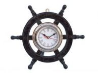 Deluxe Class Wood and Chrome Pirate Ship Wheel Clock 12