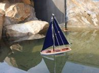 Wooden It Floats 12 - Blue Floating Sailboat Model with Blue Sails