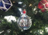 Mayflower Model Ship in a Glass Bottle Christmas Ornament 4
