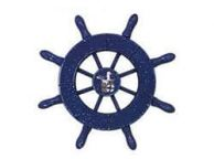 Rustic Dark Blue Decorative Ship Wheel With Seagull 6