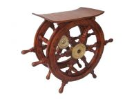 Wood and Brass Ship Wheel Table 24