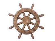 Rustic Wood Finish Decorative Ship Wheel 12\