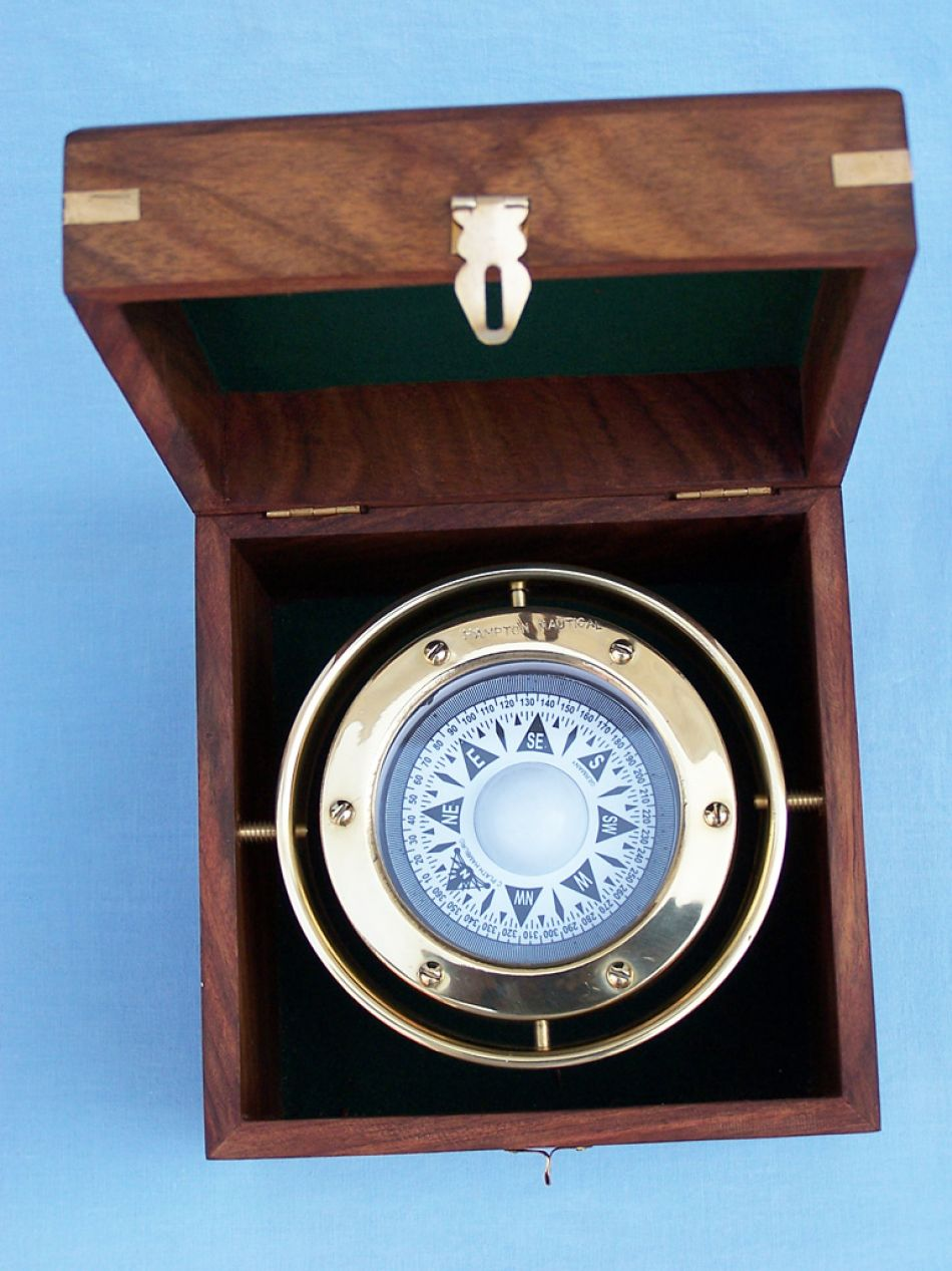 Buy Solid Brass Gimble Compass W Rosewood Box 6in