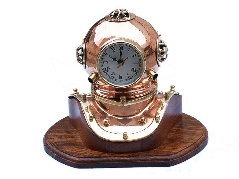 A Brass diver's helmet clock