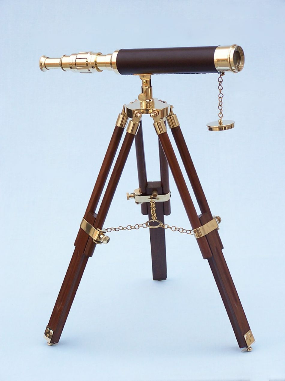 Brass Leather Harbor Master Telescope 20 Inch Leather