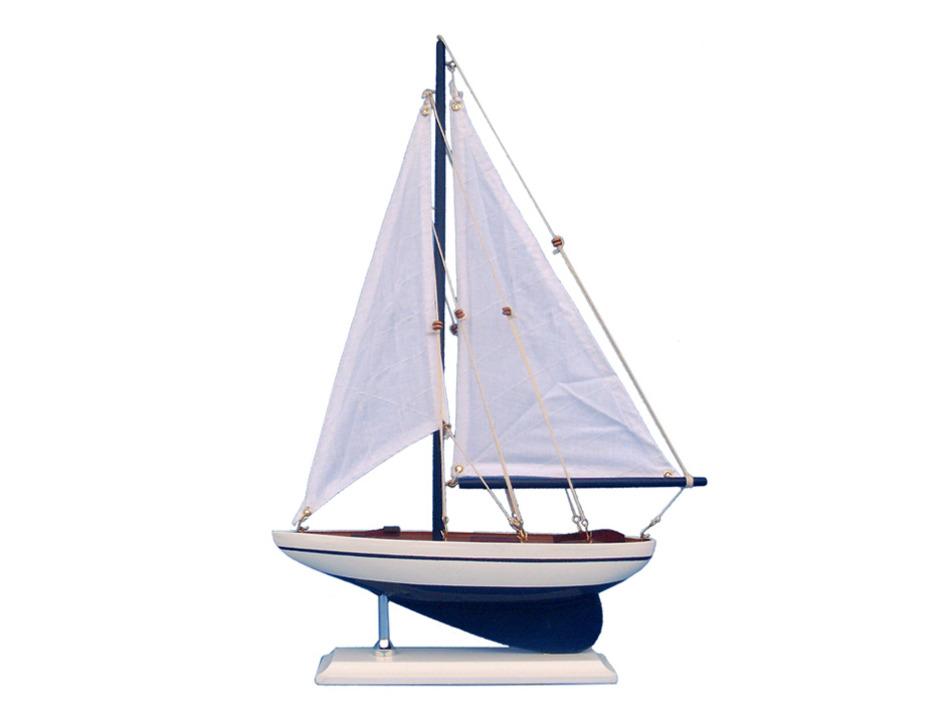 Wooden Blue Pacific Sailer Model Sailboat Decoration 17