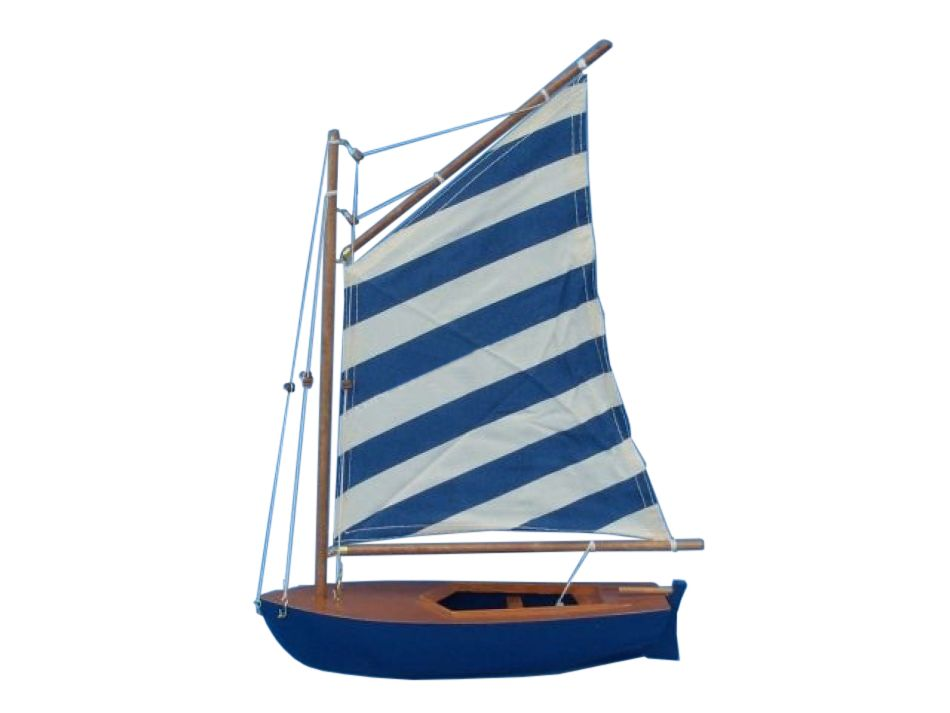 Wooden Blue Striped Sailboat Model Sailboat Decoration 15. Not A Kit