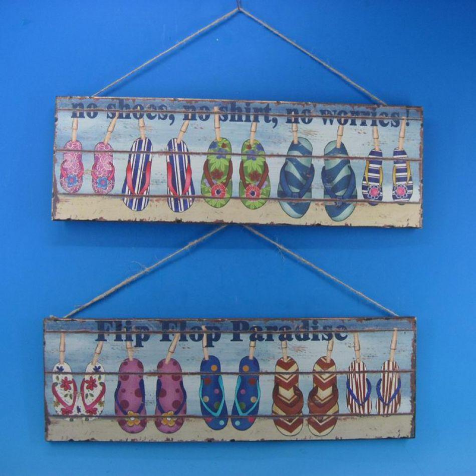 Buy wooden flip flop wall plaques 24 inch set of 2 wholesale beach - Wholesale home decor merchandise model ...