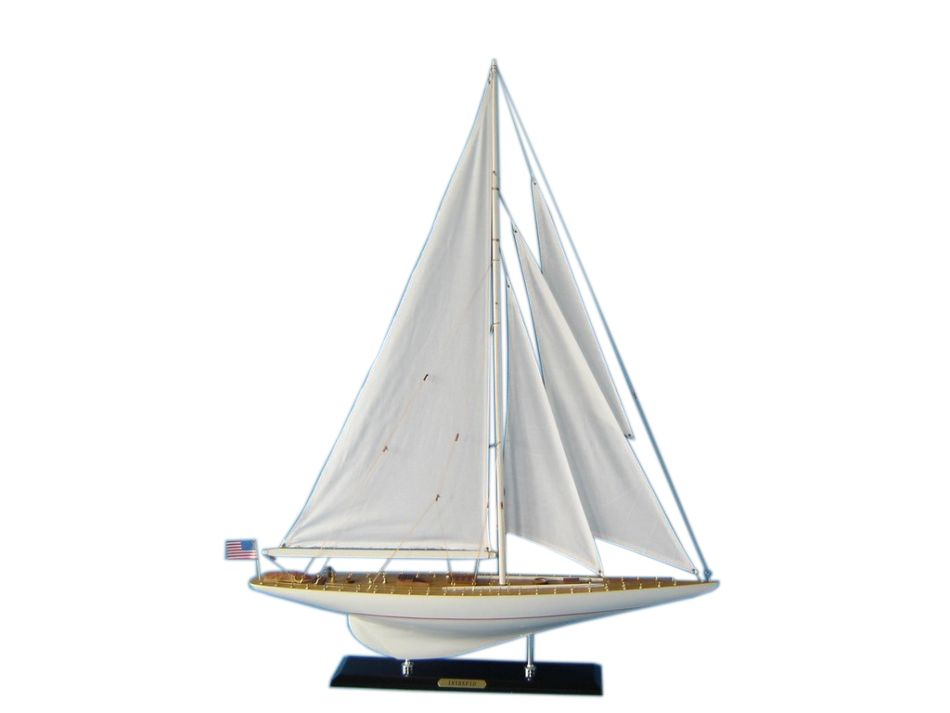 Wooden intrepid limited model sailboat decoration 35 for Decoration yacht