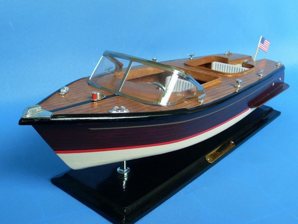 Buy Wooden Chris Craft Runabout Model Speedboat 20in