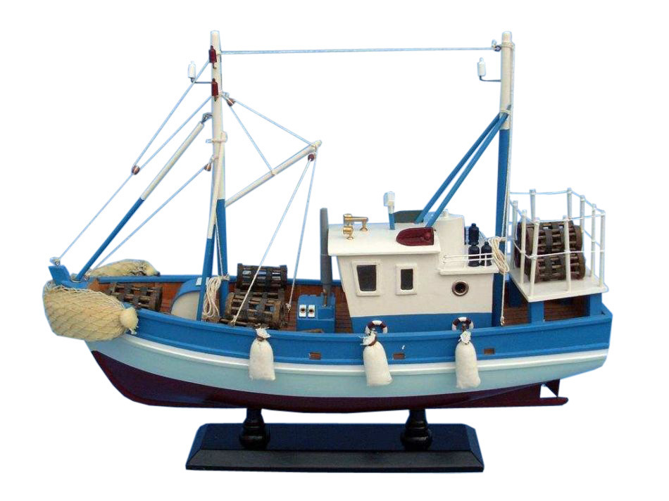 wooden outrigger model fishing boat 18