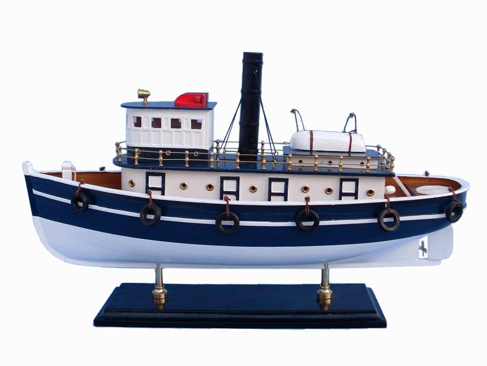 Buy wooden brooklyn harbor tug model boat 19 inch for Model fishing boats