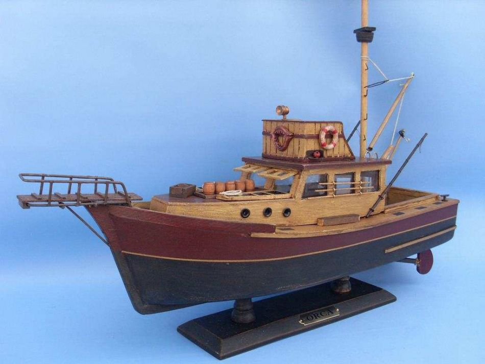 Buy wooden jaws orca model boat 20 inch models ships for Model fishing boats