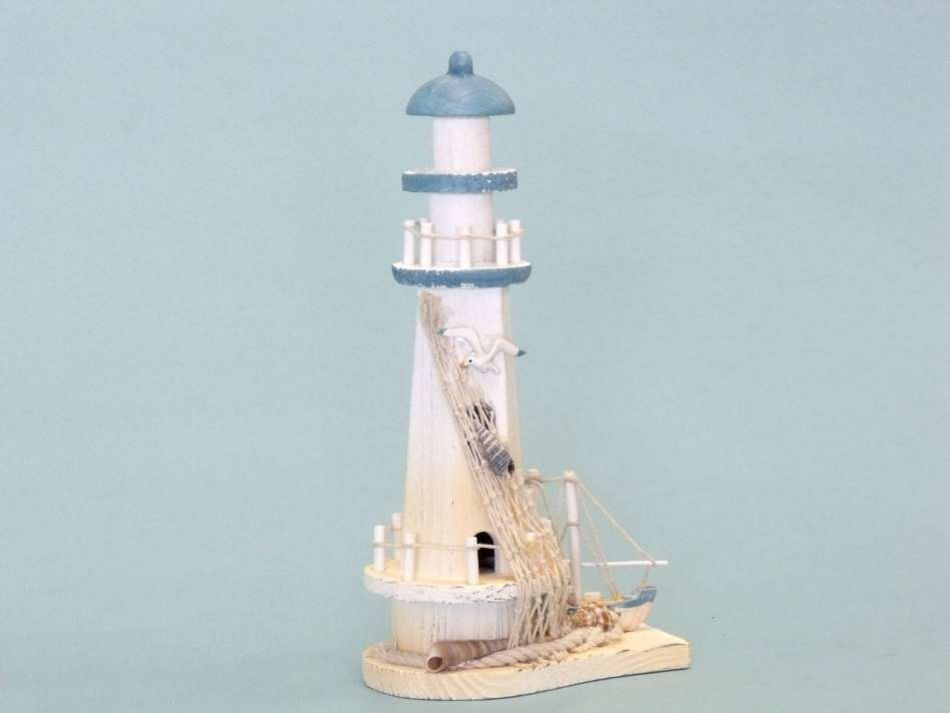 Wholesale Blue Wooden Lighthouse And Boat 12 Inch Wholesale Lighthouse Collectibles