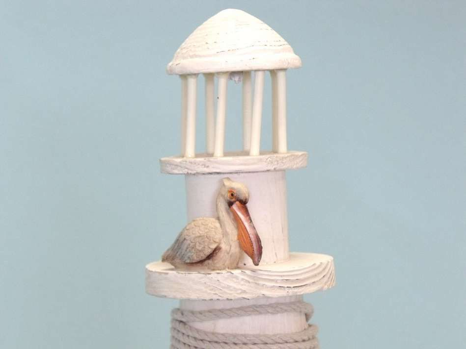 Pelican Wooden Lighthouse 21 Inch Lighthouse