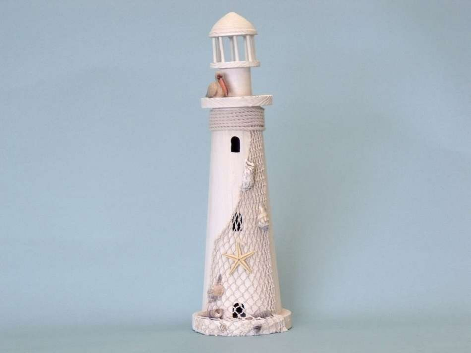 Wholesale pelican wooden lighthouse 18 inch wholesale for Cheap nautical decorating ideas