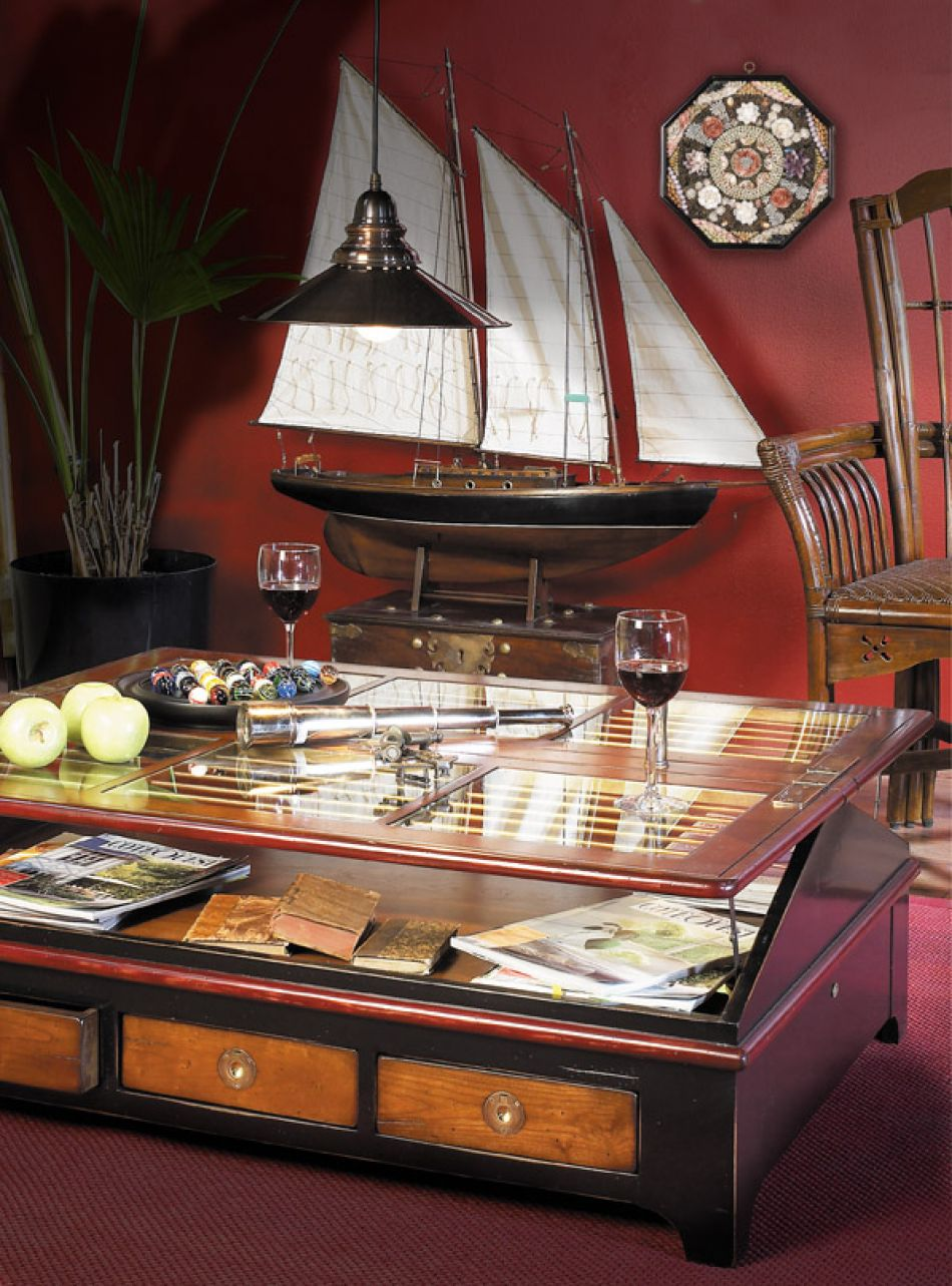 Ships skylight table 45 inch traditional furniture for Ship decor home