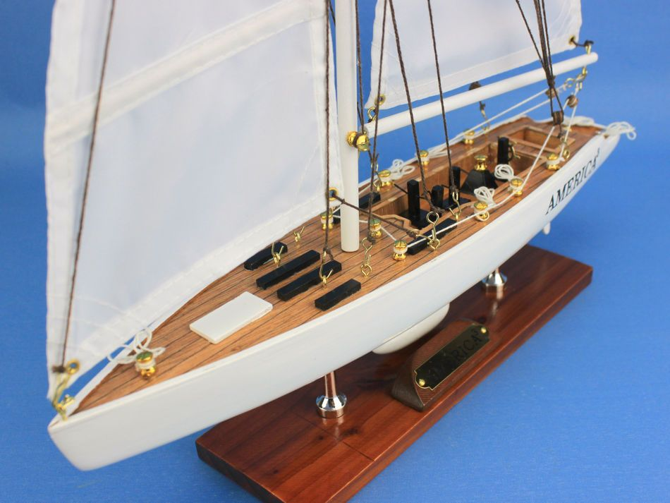 Buy Wooden America3 Model Sailboat Decoration 23 Inch
