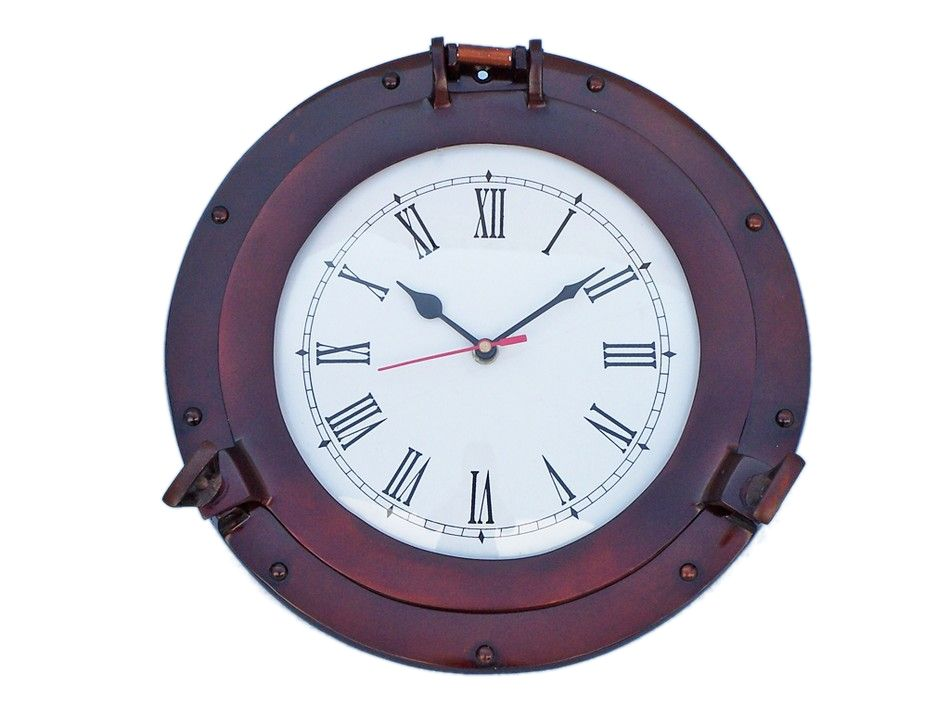 Buy antique copper deluxe class porthole clock 12 inch for Seashell wall clock