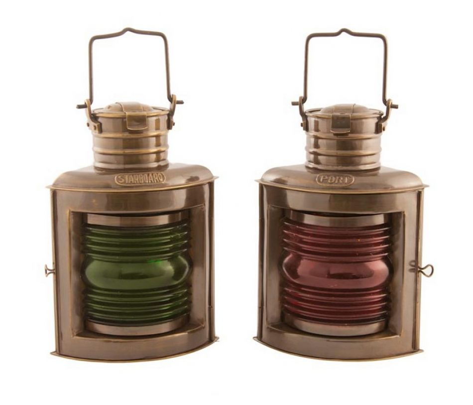 Buy Antique Brass Port and Starboard Oil Lantern 10in ...
