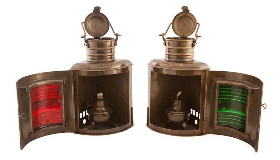 "Antique Brass Port and Starboard Oil Lantern 10"""