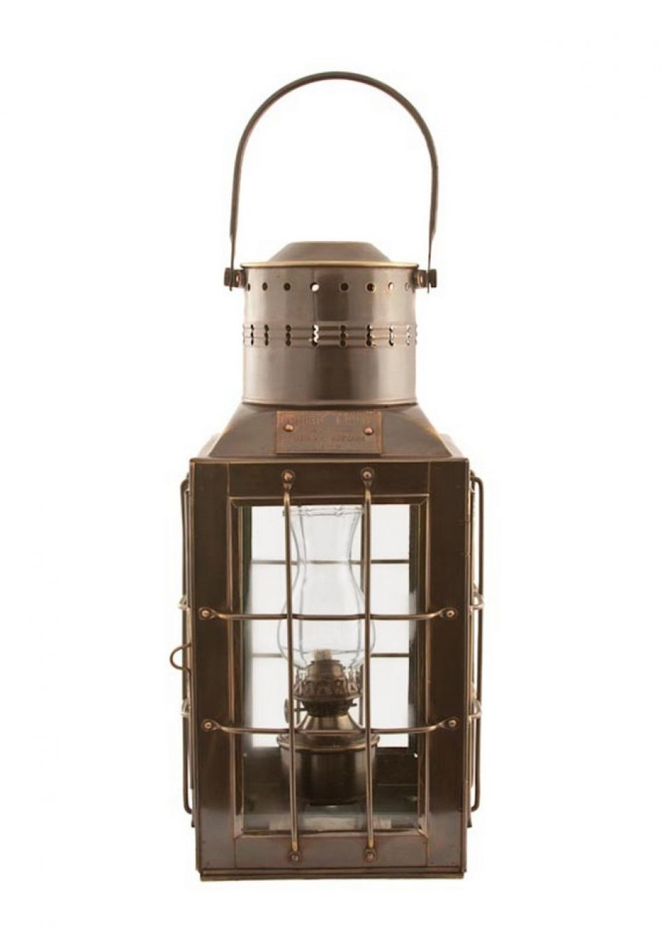 "Antique Brass Chiefs Oil Lamp 15"""