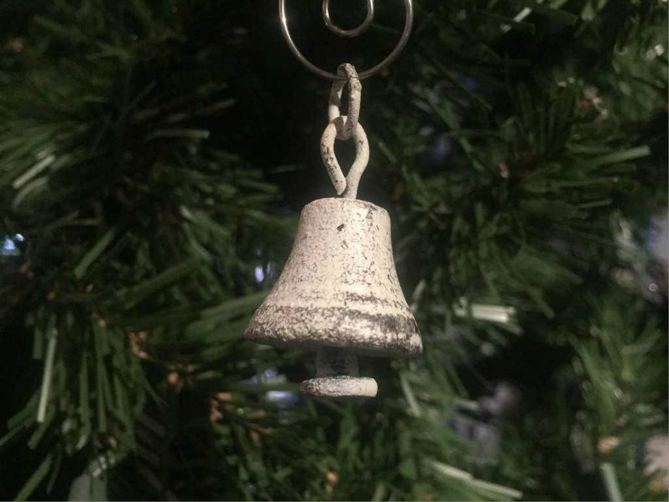 rustic whitewashed cast iron bell christmas ornament 4 - Rustic Christmas Decorations Wholesale