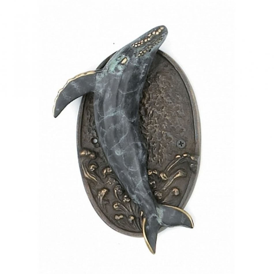 Merveilleux Antique Brass Whale Door Knocker 9
