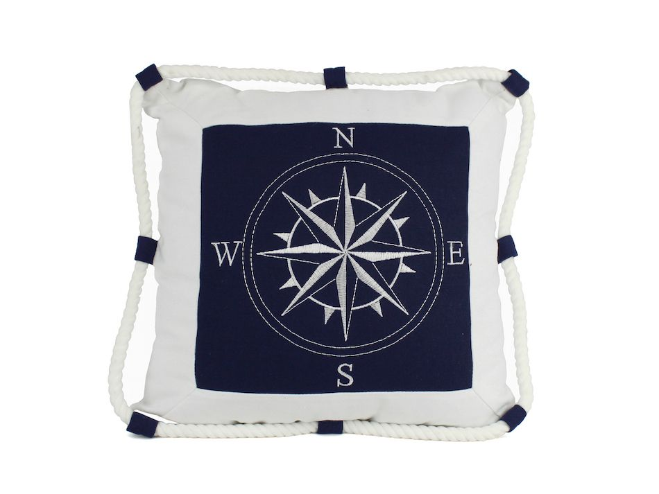 Buy Blue Compass With Nautical Rope Decorative Throw Pillow 16 Inch