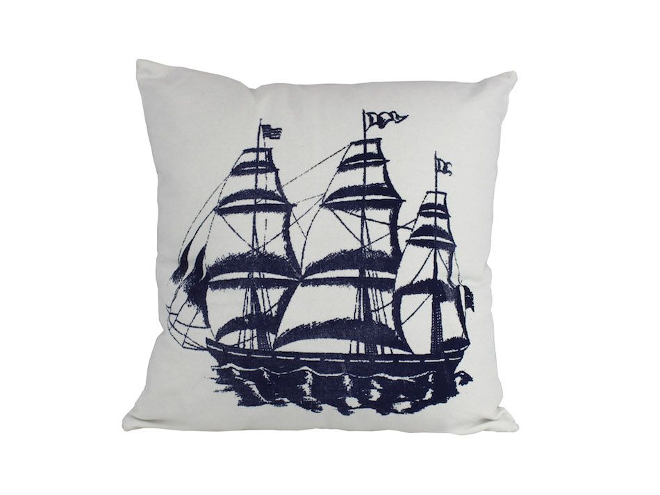 Nautical Decorative Throw Pillows : Buy Blue Tall Ship Decorative Nautical Throw Pillow 16 Inch - Nautical