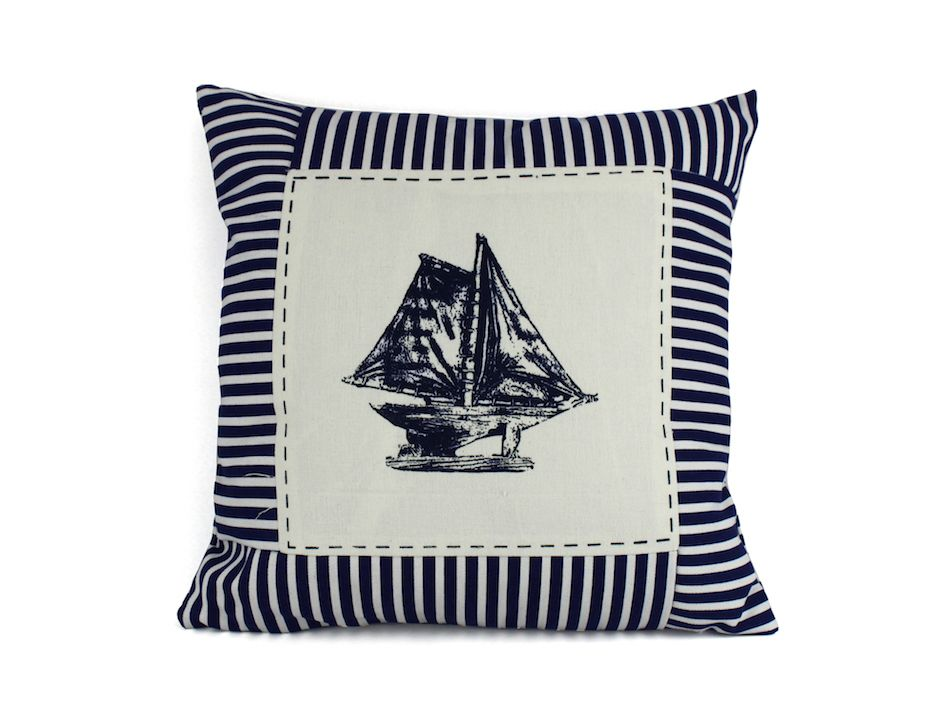 wholesale blue sloop nautical stripes decorative throw. Black Bedroom Furniture Sets. Home Design Ideas