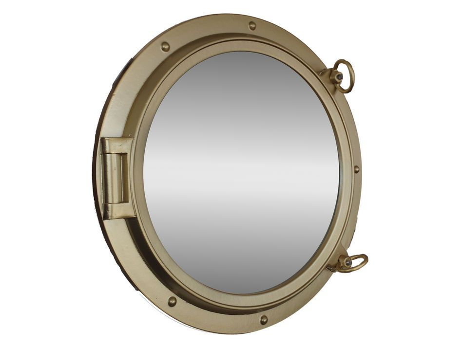 Buy gold finish porthole mirror 24 inch nautical for Decoration hole