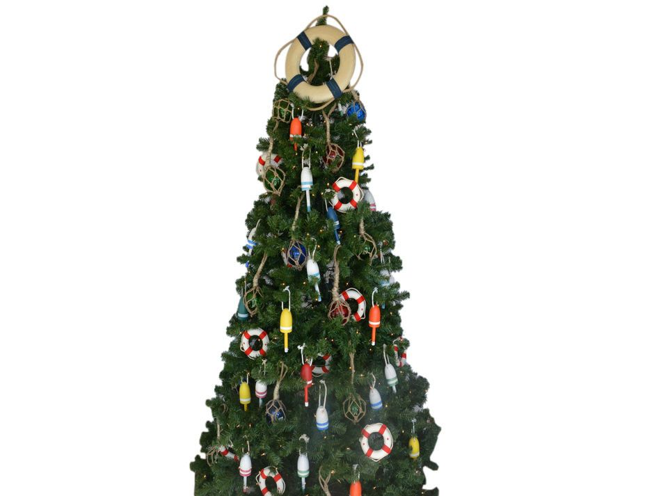 Buy Vintage White Lifering With Blue Rope Christmas Tree