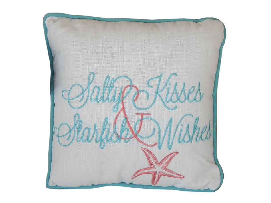 Embroidered Salty Kisses And Starfish Wishes Decorative Throw Pillow 10