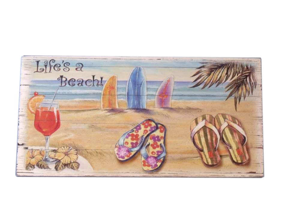 Buy wooden life 39 s a beach sign 10 inch wholesale sealife for Cheap beach decorations for the home