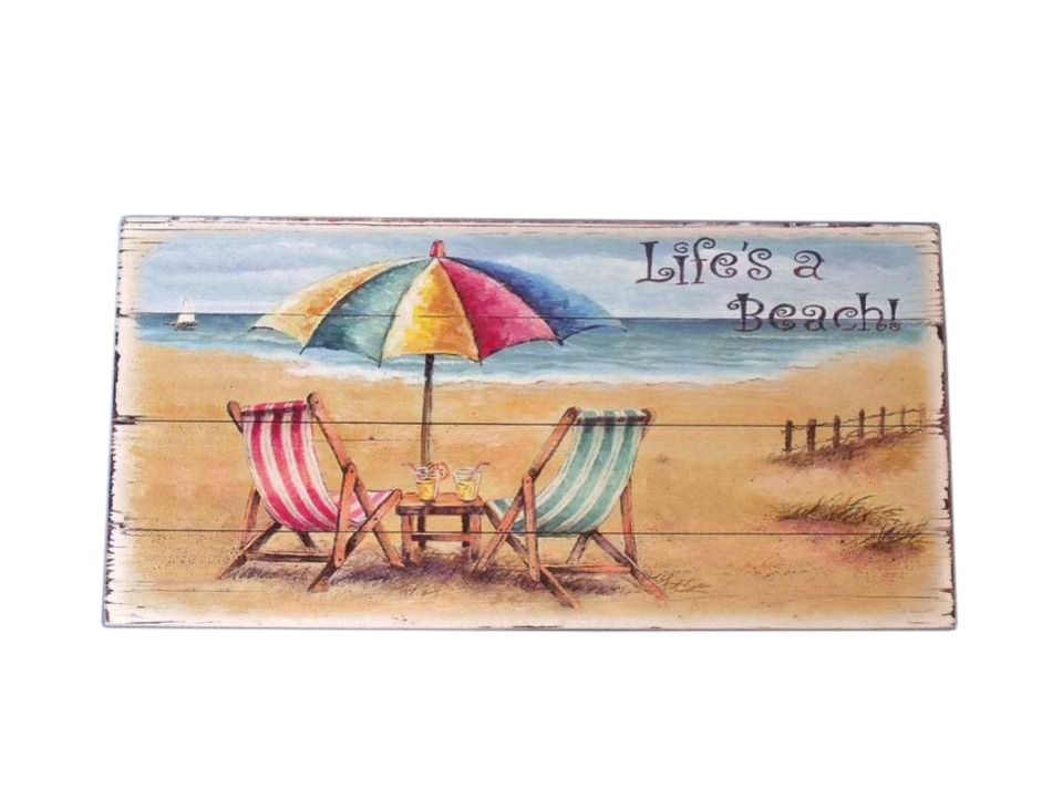 Buy wooden chair and umbrella sign 10 inch wholesale for Cheap beach decorations for the home