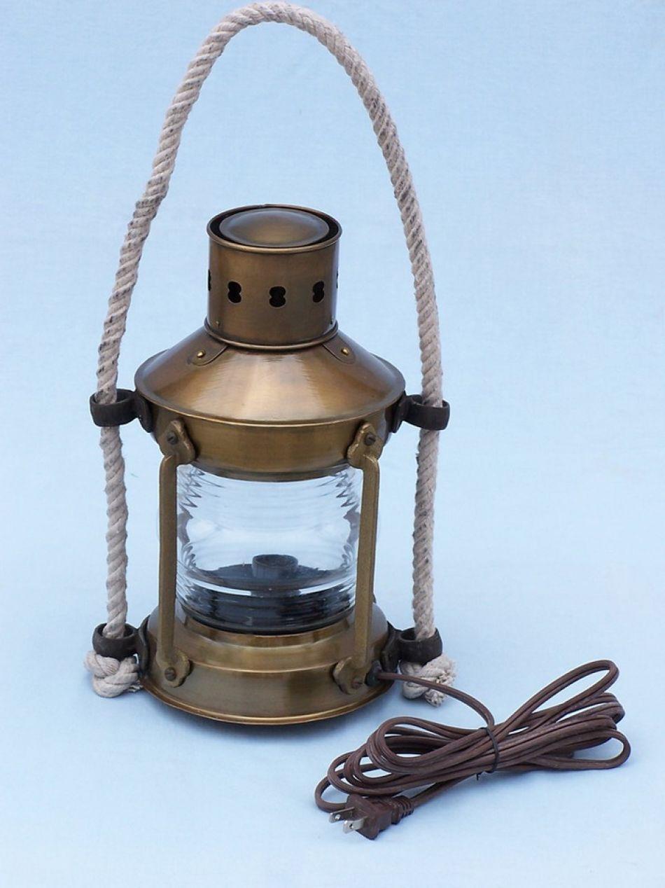 Buy Antique Brass Round Anchor Electric Lantern 16in