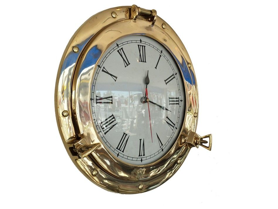 Buy brass deluxe class porthole clock 15 inch wholesale for Seashell wall clock