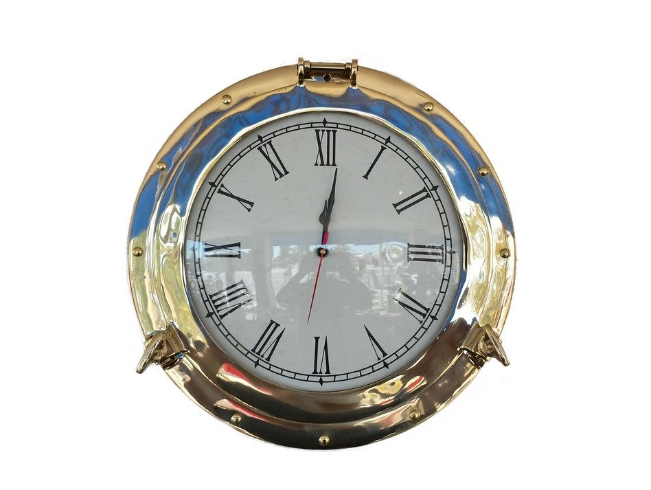 Buy Brass Deluxe Class Porthole Clock 12 Inch