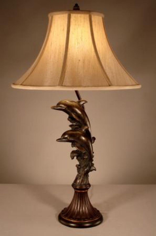 Buy Bronze Dolphin Electric Lamp 31in Nautical Decor