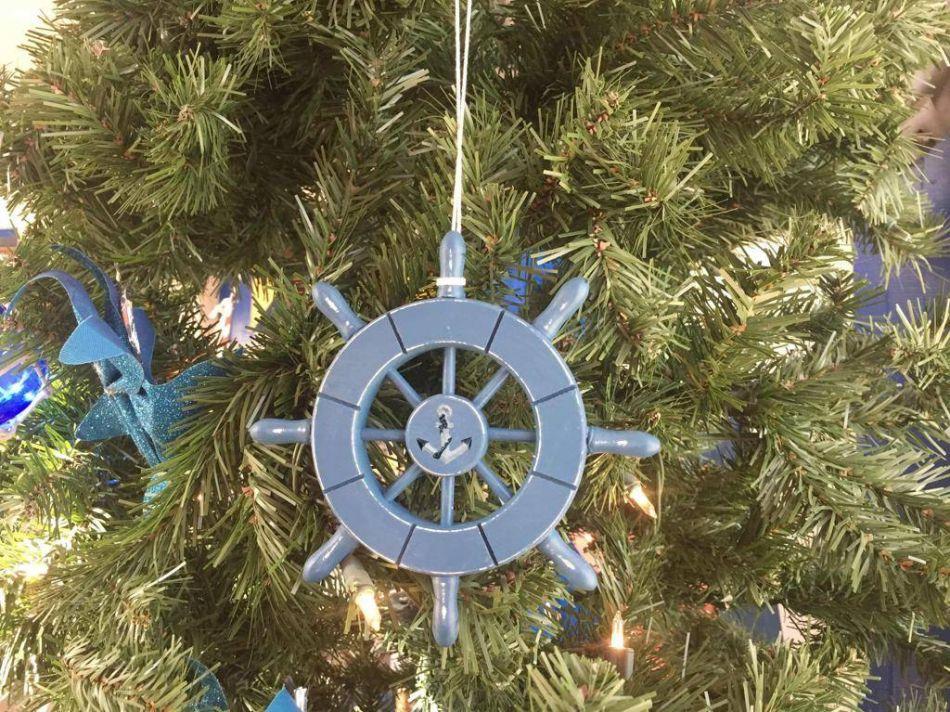 Bulk Christmas Ornament: Wholesale Rustic Light Blue Decorative Ship Wheel With