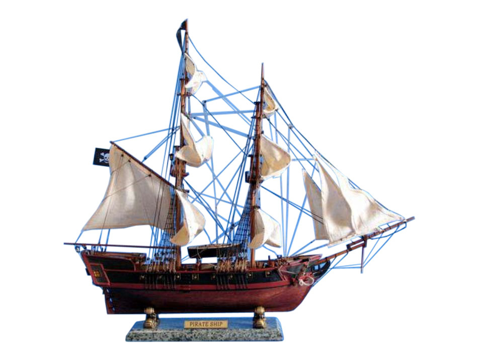 Lobster Boats For Sale >> Buy Wooden Caribbean Pirate Ship Model 26in - White Sails ...