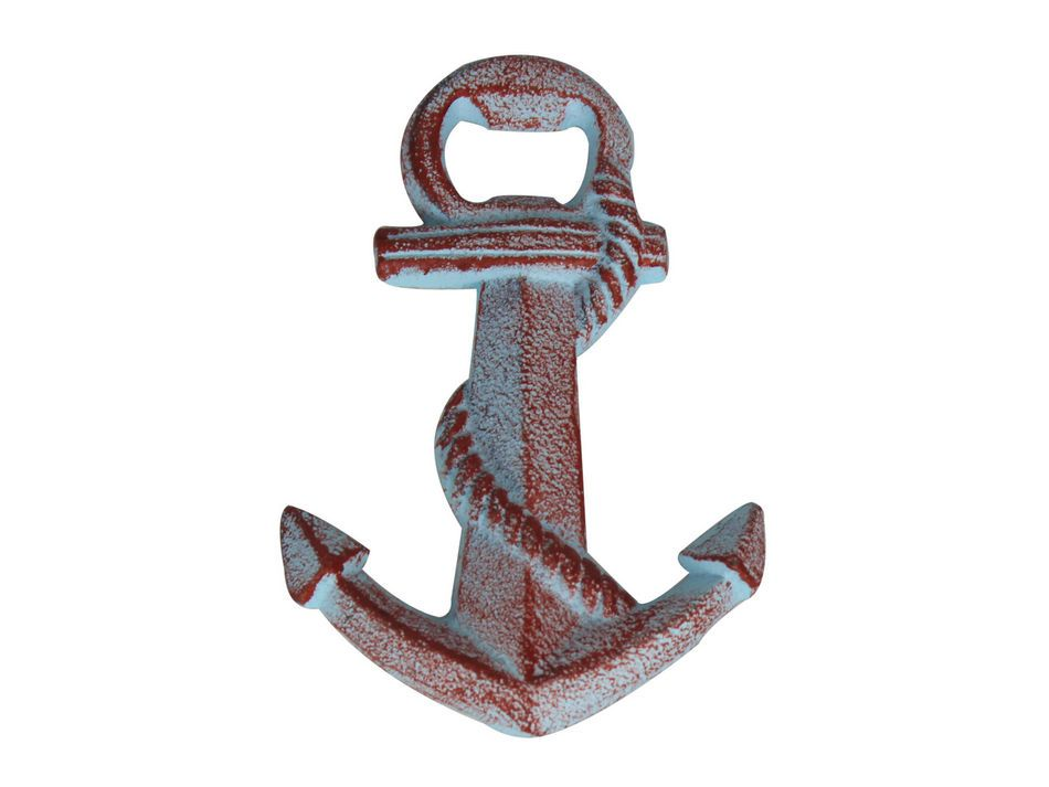 buy rustic red whitewashed cast iron anchor bottle opener 5 inch whole. Black Bedroom Furniture Sets. Home Design Ideas
