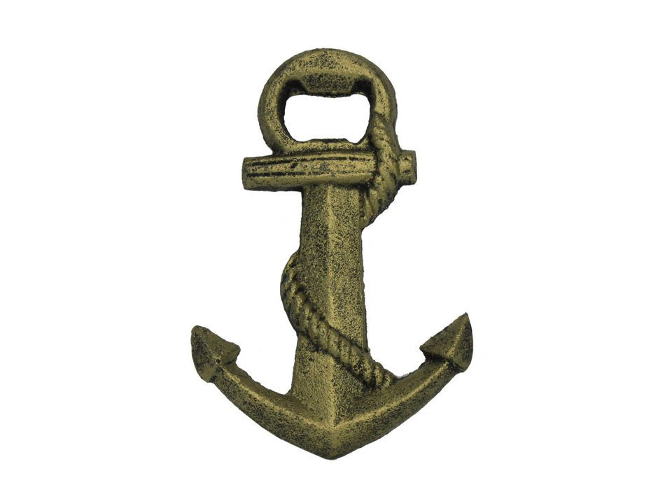 buy rustic gold cast iron anchor bottle opener 5 inch sea life wall. Black Bedroom Furniture Sets. Home Design Ideas