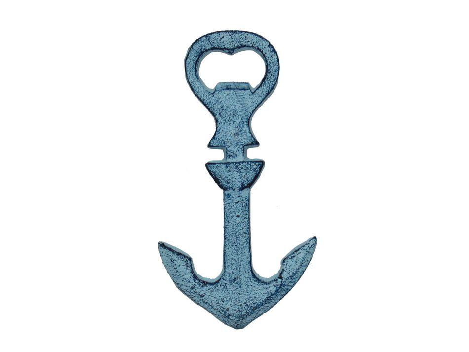 buy rustic dark blue whitewashed cast iron anchor bottle opener 5 inch. Black Bedroom Furniture Sets. Home Design Ideas