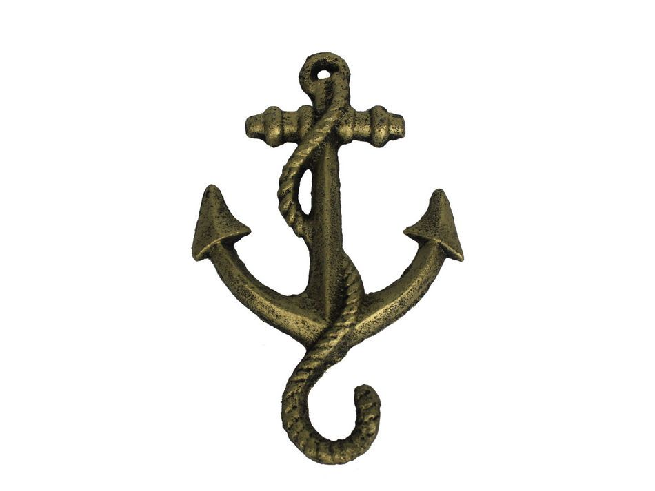 Wholesale rustic gold cast iron anchor hook 5 model ship for Anchor decoration