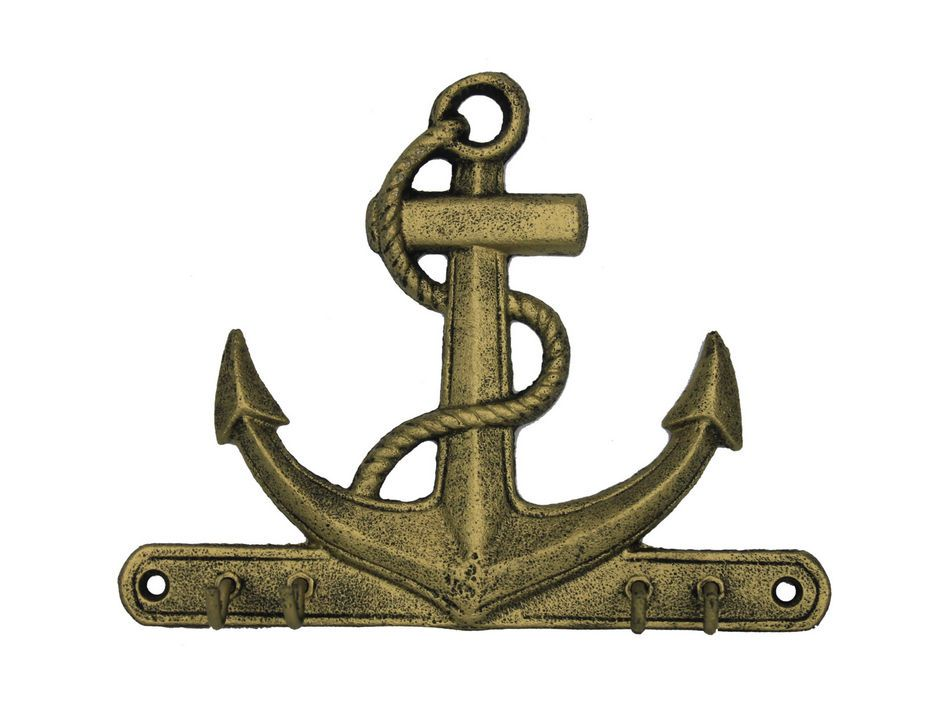 Wholesale rustic gold cast iron anchor with hooks 8 model for Anchor decoration