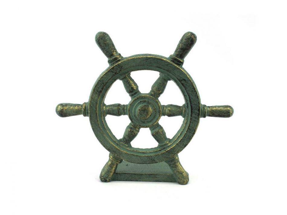 Antique Bronze Cast Iron Ship Wheel Door Stopper 9 - Buy Antique Bronze Cast Iron Ship Wheel Door Stopper 9 Inch - Nautical