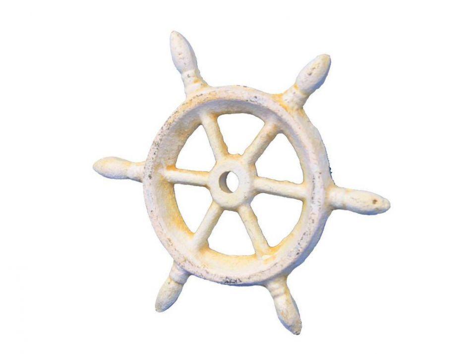 Wholesale antique white cast iron ship wheel decorative paperweight 4 model ship assembled - Wholesale home decor merchandise model ...