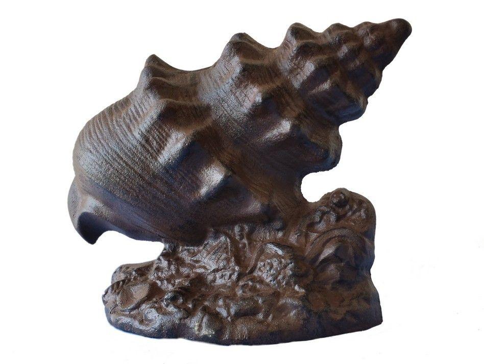 Buy rustic iron conch shell door stop 9 inch wholesale Decorative door stoppers